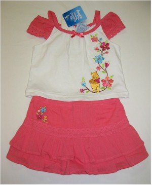 18 month peach colored Pooh Bear shirt and skirt