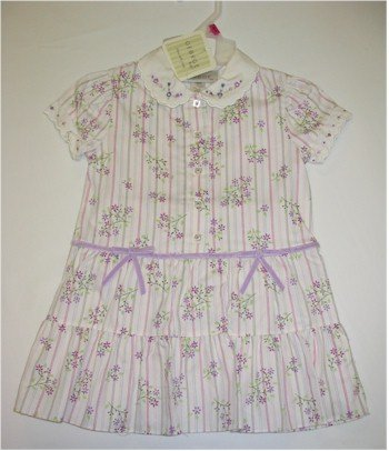 18 month off white dress with purple flowers