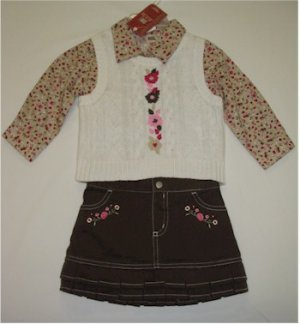 18 month brown skirt, brown floral shirt, off white sweater vest