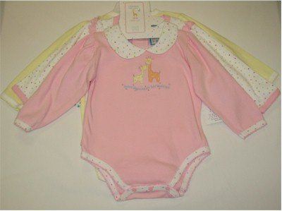 24 month bodysuit onesie set in pink, white dolka dot, and yellow
