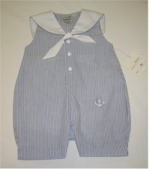 9 month blue and white striped sailor one piece jumper