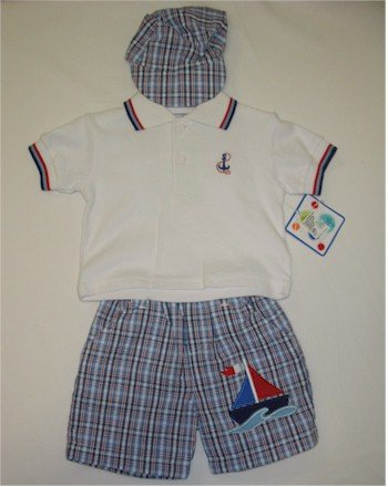 12 month white sailor shirt, blue/white/red plaid shorts and matching hat