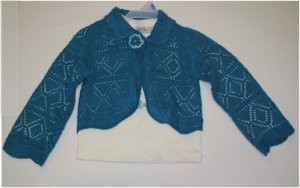 24 month teal blue crochet sweater and off white shirt