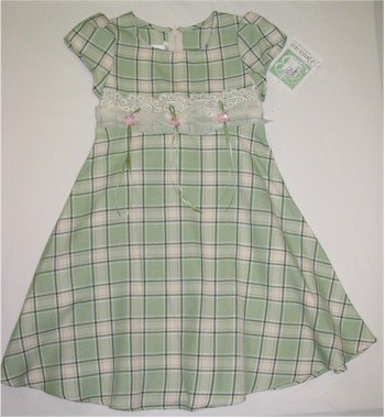 size 5  mint green plaid dress with lacing and pink flower accents