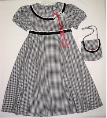 size 5  black and white checkered dress and matching purse