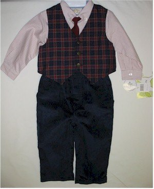 18 month boys suit with pink striped shirt, plaid vest and navy corduroy pants