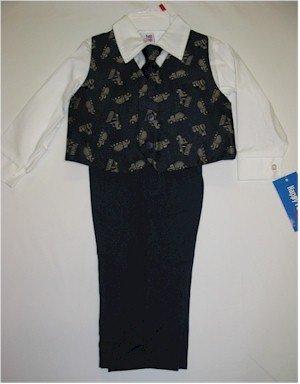 24 month boys navy blue suit with dump trucks