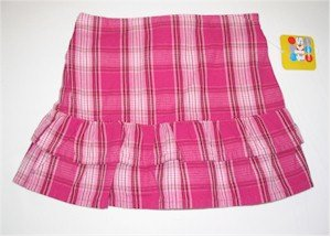 size 6 pink striped skirt with ruffles