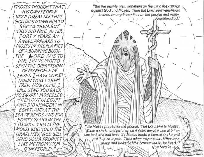 Small Bible original art Moses and the snakes