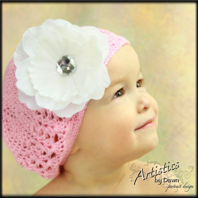 Pink Crochet Beanie with a White Rhinestone Centered Peony clip