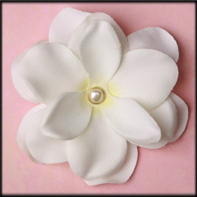 Pretty Pearled White Flower clip