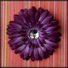 Purple Rhinestone Gerbera Daisy Clip