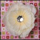 Ivory Rhinestone Center Peony Flower Clip