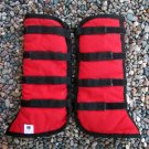 One Pair of Red Nylon Fleece Lined Horse Shipping Boots 14 inch Size Medium by Fox Mountain Weavers