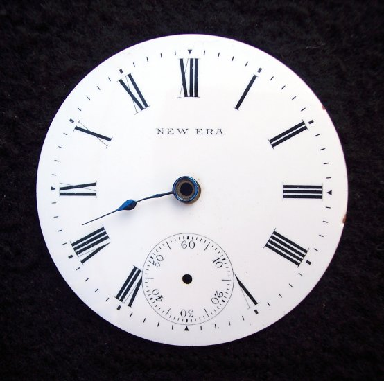 Pocket Watch Dial New Era Size 18s White Porcelain Black Roman Numerals for Repair or Restoration