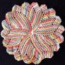 Citrus Colors Hand Knit Dish Cloth, Face Cloth, Coaster, Basket Liner 100% Cotton 8 inch diameter