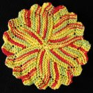 Red Hot Chili Hand Knit Dish Cloth, Face Cloth, Coaster, Basket Liner 100% Cotton 8 inch diameter