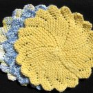 3 Cotton Hand Knit Dish or Face Cloths, Coasters, Basket Liners 8 inches, Yellow, Blue & White