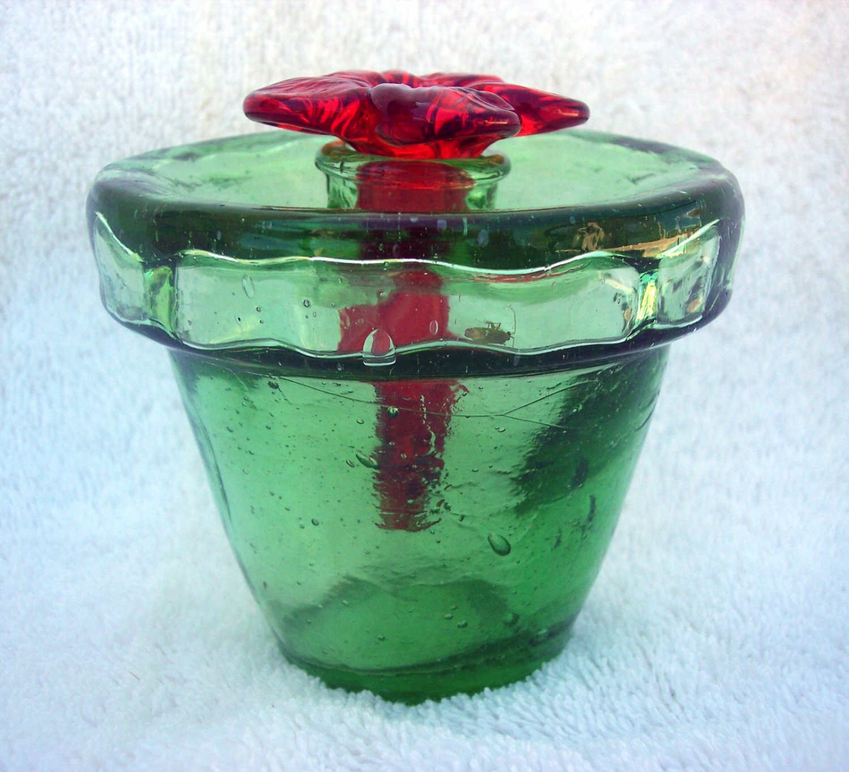 Nectar Butterfly Feeder Green Hand Blown Glass Flower Pot