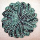 Camo Hand Knit Dish Cloth, Face Cloth, Coaster, Basket Liner 100% Cotton 8 in diameter, Camouflage