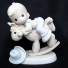 Precious Moments Take Heed When You Stand #521270 Rocking Horse Cowboy Enesco 1991 Samuel J Butcher