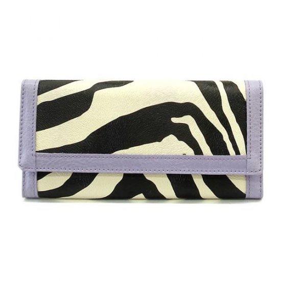 Zebra Print Women's Wallet, Purple (120AW89)