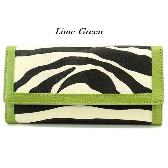 Zebra Print Women's Wallet, Green (120AW89)
