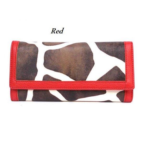 Giraffe Print Women's Wallet, Red (122AW89)