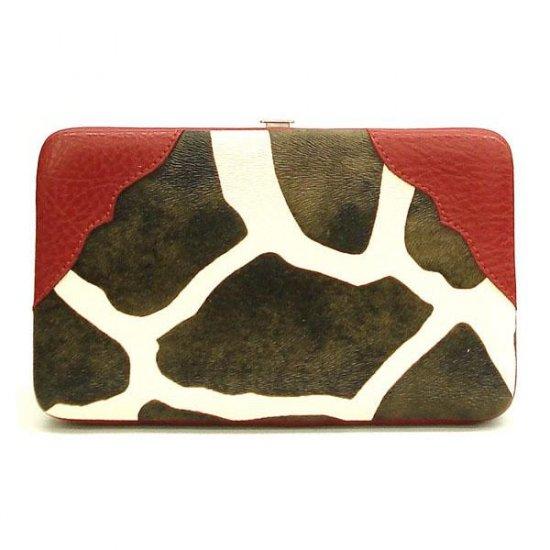 Giraffe Print Women's Wallet, Red (122AW135)