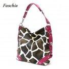 Giraffe Print Women's Carly Handbag Purse, Fuschia (122-5028)
