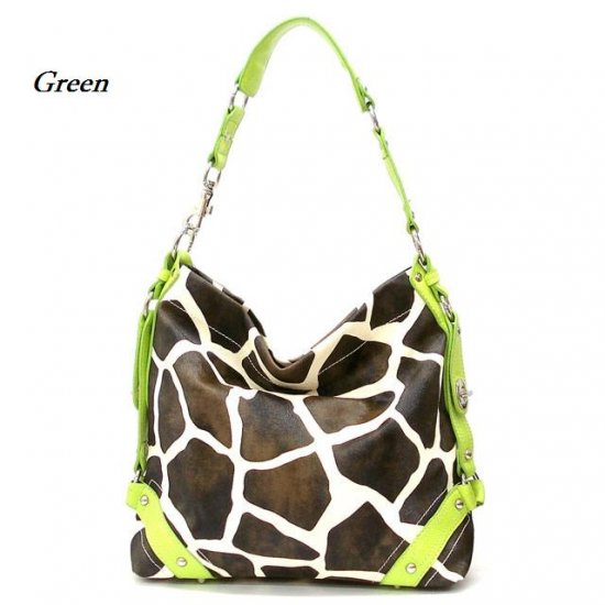 Giraffe Print Women's Carly Handbag Purse, Green (122-5028)