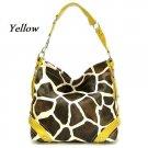Giraffe Print Women's Carly Handbag Purse, Yellow (122-5028)