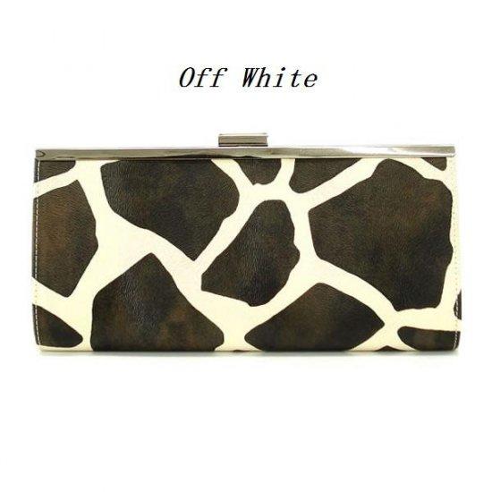 Giraffe Print Clutch Handbag Purse, Off White (122-2883)