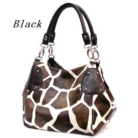 Giraffe Print Women's Handbag Purse, Black (122-2017)