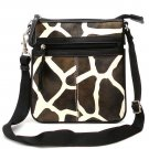 Giraffe Print Messsenger Style Handbag Purse, Black (122-1891)