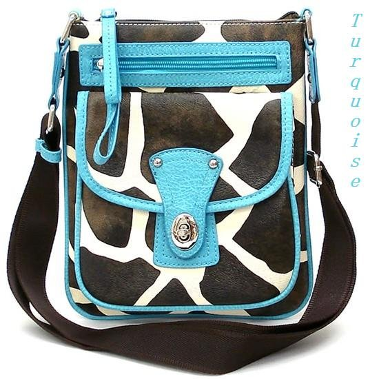 Giraffe Print Messsenger Style Handbag Purse, Turquoise (122-1167)