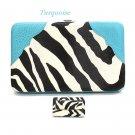 Zebra Print Women's Frame Wallet, Turquoise (120AW135)