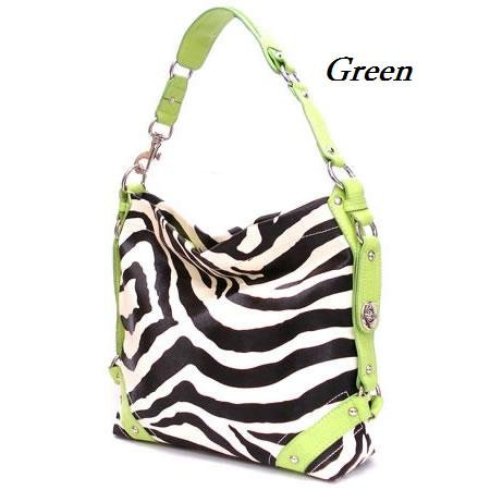 Zebra Print Women's Carly Handbag Purse, Green (120-5028)