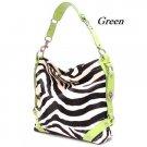 Zebra Print Women's Carly Handbag Purse, Green (120-5028)