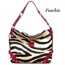 Zebra Print Women's Carly Handbag Purse, Fuschia (120-5028)