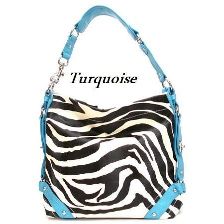 Zebra Print Women's Carly Handbag Purse, Turquoise (120-5028)