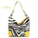 Zebra Print Fish Hook Handbag Purse, Yellow (120-3180)