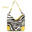 Zebra Print Fish Hook Handbag Purse, Yellow (120-3179)