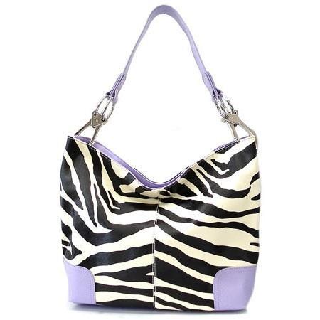 Zebra Print Fish Hook Handbag Purse, Purple(120-3179)