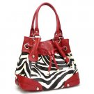 Zebra Print Drawstring Handbag Purse, Red (120-2930)