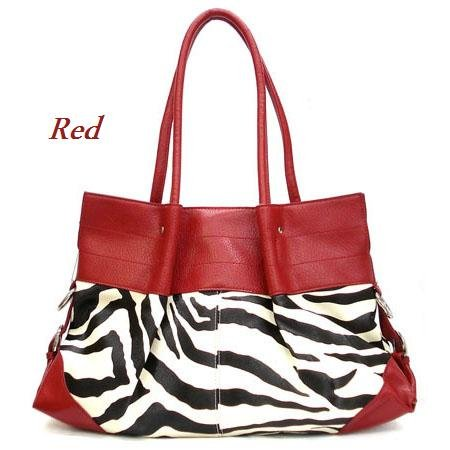 Zebra Print Women's Tote Handbag Purse, Red (120-2777)
