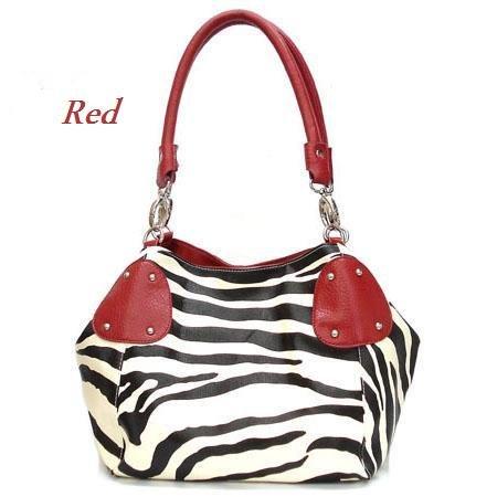 Zebra Print Women's Handbag Purse, Red (120-2017)