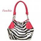 Zebra Print Women's Handbag Purse, Fuschia (120-2017)