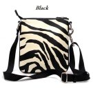 Zebra Print Messsenger Style Handbag Purse, Black (120-1891)