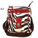 Zebra Print Messsenger Style Handbag Purse, Red (120-1167)